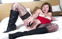 Sultry senior mom probes her old pussy with a large dildo - 3 part 7